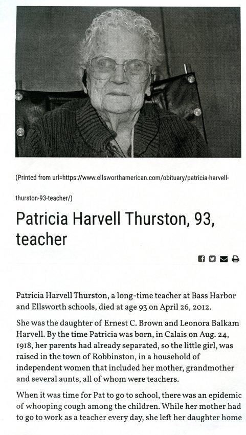Patricia Harvell Thurston obituary