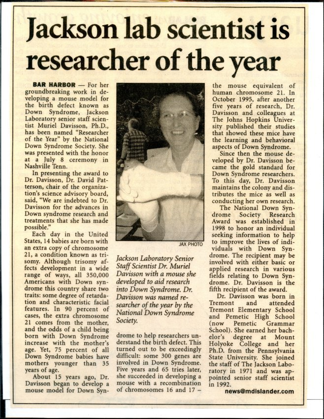 Jackson Lab Scientist is researcher of the year.