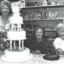 Image of Three Women with Cake, Betty Drazic in Center -