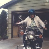 Image of Edna Anderson on a Motorcycle -