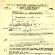 Image of Indiviual Income Tax Return for  Calendar Year 1944 -