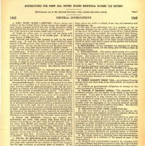Image of Instructions for United States I.R. S. Form 1040 for 1942 -