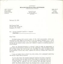 Image of Letter from George E. Merker to Ms. Frances Pope, February 22, 1988 - Greater Issaquah Coalition (GIC)