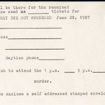 """Image of Draft of Reservation Slip for """"Peggy Sue Got Murdered"""" Mystery Theatre - Greater Issaquah Coalition (GIC)"""