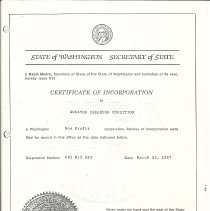 Image of Photocopy of State of Washington Certificate of Incorporation for the Greater Issaquah Coalition - Greater Issaquah Coalition (GIC)