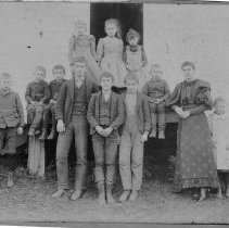 Image of Students/Teacher in School Doorway - Wold Collection
