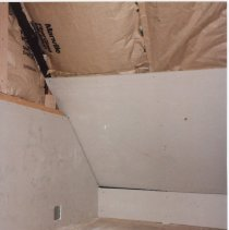 Image of Upstairs Interior of Gilman Town Hall during the 1980s restoration, sheetrocking - IHS Institutional Archives