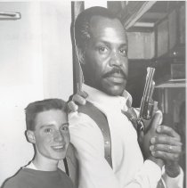 Image of Craig Knot Posing with Cutout of Danny Glover - Issaquah Press Collection