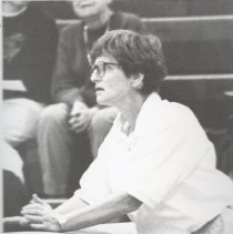 Image of Issaquah Coach Pat Hatmaker at the Sea King District Gym Meet, February 2, 1995 - Issaquah Press Collection