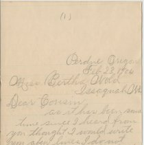 Image of To Miss Bertha Wold from Artie E. Hanks. Perdue, OR. February 23, 1904.  -