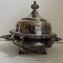 Image of Three Piece Silver Plated Butter Dish -