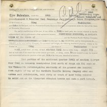 Image of Form RW14. Easement for Spur Track Under Agreement between Issaquah and Superior Coal Company, and Robert and Helen Thompson, and Neukirchen, and the Northern Pacific Railway Company. January 19, 1915. - Jim Frederickson Collection