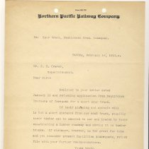 Image of Letter from I.B. Richards (General Superintendent) to J.E. Craver (Superintendent). February 14, 1911. - Jim Frederickson Collection