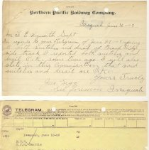 Image of Letter from John Legg to F.E. Weymouth. June 30, 1909.  Telegram from John Legg to F.E. Weymouth and F.J. Martin. June 10, 1909. - Jim Frederickson Collection