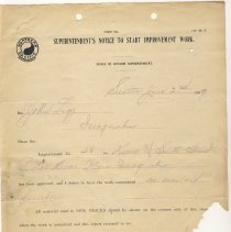 Image of Superintendent's Notice to Start Improvement Work from Unknown to John Legg. June 2, 1909. - Jim Frederickson Collection