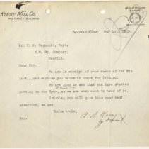 Image of Letter from A.S. Kerry to F.E. Weymouth (Superintendent). May 10, 1909. - Jim Frederickson Collection