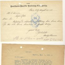 Image of Letter from J.W. Roberts (Bridge Foreman) to A. Herider. August 27, 1908.