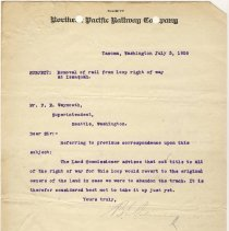 Image of Letter from B.E. Palmer to F.E. Weymouth (Superintendent). July 3, 1906. - Jim Frederickson Collection