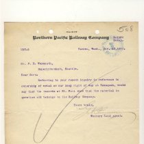 Image of Letter from G.H. Plummer (Western Land Agent) to F.E. Weymouth (Superintendent). November 13, 1905. - Jim Frederickson Collection