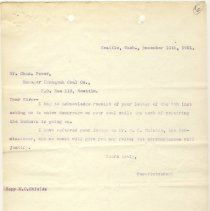 Image of Letter from Superintendent to Mr. Chas. Power (Manager, Issaquah Coal Company), copy to M.C. Shields. December 10, 1901. - Jim Frederickson Collection