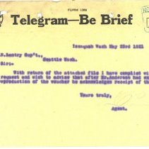 Image of Telegram from Agent to T.H. Lantry. May 23, 1921. - Jim Frederickson Collection
