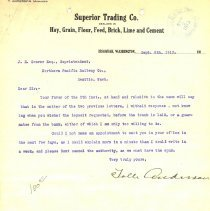 Image of Letter from Tolle Anderson to J.E. Craver (Superintendent). September 8, 1913. - Jim Frederickson Collection