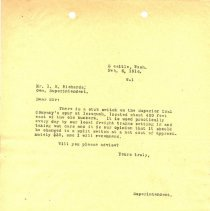 Image of Letter from Superintendent to I.B. Richards (General Superintendent). February 6, 1916. - Jim Frederickson Collection