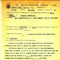 Image of Requisition for Authority for Expenditure, June 21, 1911. - Jim Frederickson Collection