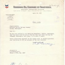Image of Letter from A.D. Carleton to Superintendent. April 26, 1957.  - Jim Frederickson Collection