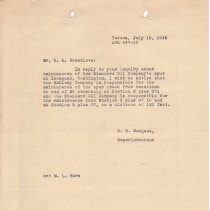 Image of Letter from C.H. Burgess (Superintendent) to W.A. Breedlove. July 16, 1945.