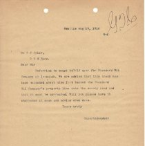 Image of Letter from Superintendent to T.J. Tyler. August 19, 1916.  - Jim Frederickson Collection