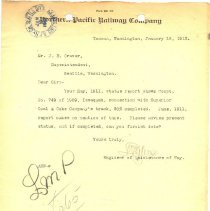 Image of Letter from Engineer of Maintenance of Way to J.E. Craver. January 18, 1912. - Jim Frederickson Collection