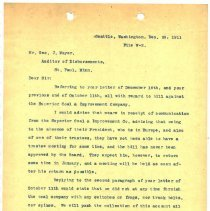 Image of Letter from Superintendent to George J. Mayer (Auditor of Disbursements). December 29, 1911. - Jim Frederickson Collection