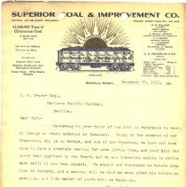 Image of Letter from A. McKay Jordan (Business Manager & Secretary, Superior Coal & Improvement Company) to J.E. Craver. December 28, 1911. - Jim Frederickson Collection