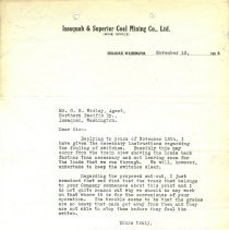 Image of Letter from J. Artice (Superintendent) to G.H. Worley (Agent). November 13, 1914. - Jim Frederickson Collection