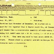 Image of Telegram from J.H.R. to C.A.C. August 20, 1910. - Jim Frederickson Collection
