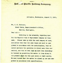 Image of Letter from F.E. Weymouth to J.H. Robinson (Chief Clerk, Superintendent's Office). August 17, 1910. - Jim Frederickson Collection