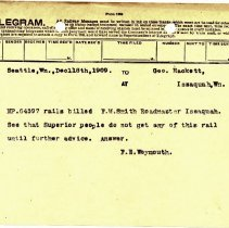 Image of Telegram from F.E. Weymouth to George Hackett. December 18, 1909. - Jim Frederickson Collection