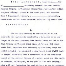Image of Draft Lease Agreement between the Northern Pacific Railway Company and the Superior Coal & Improvement Company. 1909. - Jim Frederickson Collection