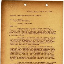 Image of Letter from Superintendent to B.E. Palmer. August 5, 1909. - Jim Frederickson Collection