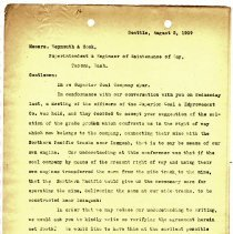 Image of Letter from Raymond D. Ogden to F.E. Weymouth (Superintendent) and Mr. Cook (Engineer of Maintenance of Way). August 2, 1909. - Jim Frederickson Collection