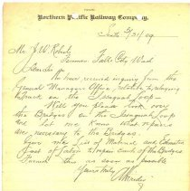 Image of Letter from A. Herider to J.W. Roberts. May 31, 1909. - Jim Frederickson Collection