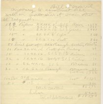 Image of Bill of Materials. No date. - Jim Frederickson Collection