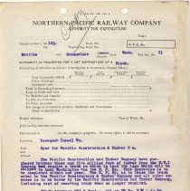 Image of Form 1363. Authority for Expenditure. 1923. - Jim Frederickson Collection