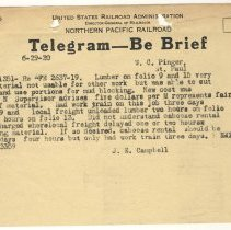 Image of Telegram from J.E. Campbell to W.C. Pinger (St. Paul). June 29, 1920. - Jim Frederickson Collection