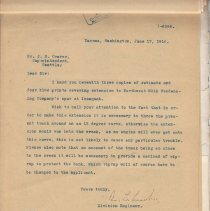Image of Letter from Division Engineer to J.E. Craver. June 17, 1916. - Jim Frederickson Collection