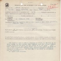 Image of Form 1363. Requisition for Authority for Expenditure. November 26, 1913. - Jim Frederickson Collection