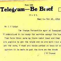 Image of Telegram from J.E. Craver to T.J. Tyler. October 25, 1916.  - Jim Frederickson Collection
