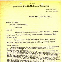 Image of Letter from Henry Blakeley to B.E. Palmer (General Superintendent, Building). May 26, 1908.