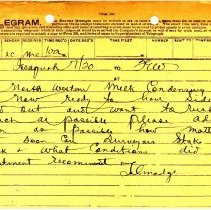 Image of Telegram from J.L. Talmadge to F.E. Weymouth. July 20, 1908.  - Jim Frederickson Collection